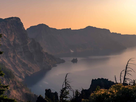 Crater Lake National Park - Warm Golden Sunset over Phantom Ship