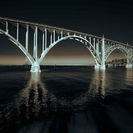 Newport Oregon Coast - Monochrome Yaquina Bay Bridge