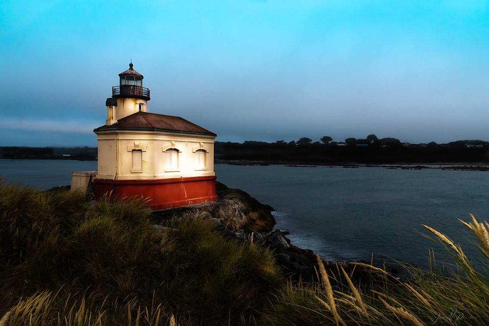 Short lighthouse at sunset