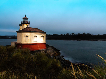 Bandon, Oregon Coast - Sunset At The Coquille River Lighthouse