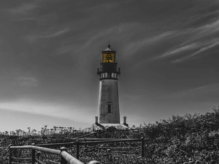 Newport, Oregon Coast - Dark Yaquina Head Lighthouse