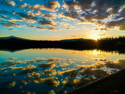 Central Oregon High Desert - White Clouds Reflecting on Blue Lake at Sunset