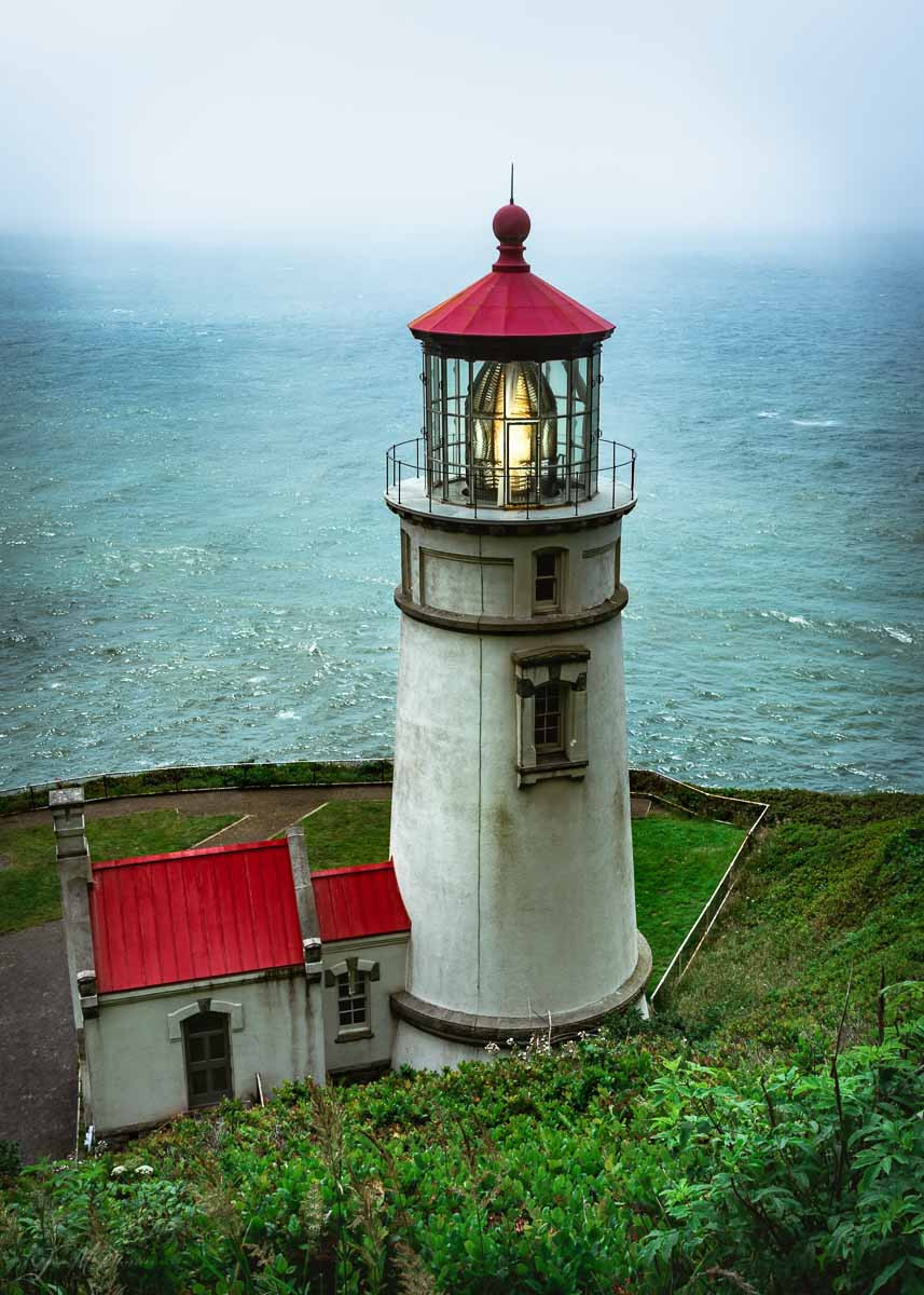 White lighthouse with red roof
