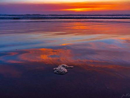 Central Oregon Coast - Purple and Orange Sunset on the Beach
