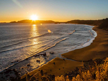 Port Orford, Southern Oregon Coast - Golden Sunset Over Beach