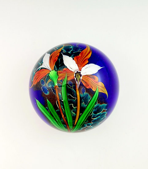 Paperweight - Orange and White Orchids