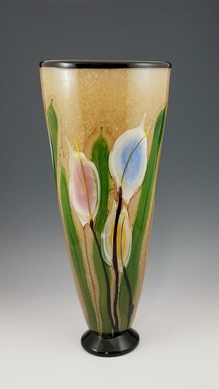 Lilies cylindrical footed vase, large