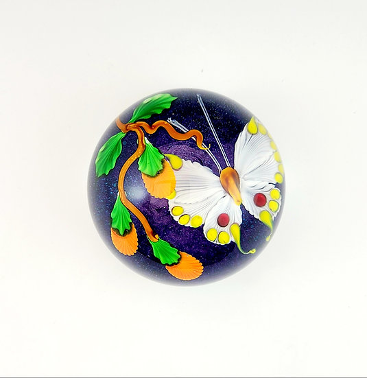 Paperweight - White Butterfly with Orange Buds