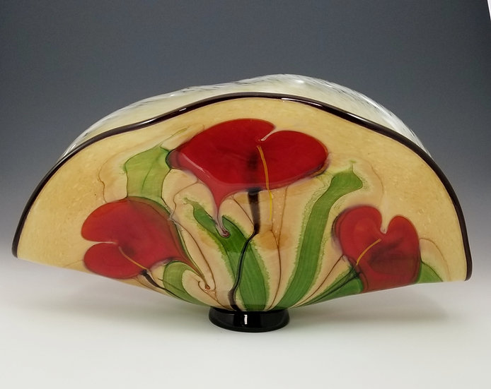 """""""Watercolor"""" Series: Red anthurium clam vase with red anthurium flowers"""