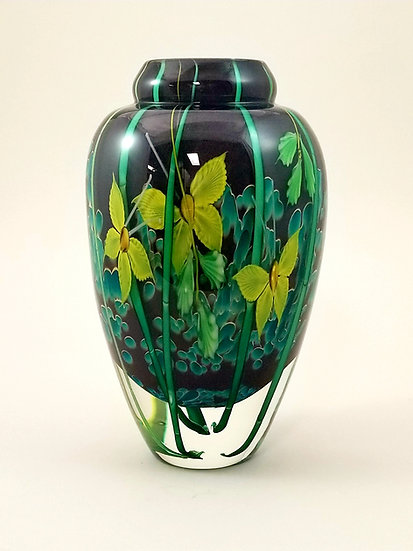Brown and aqua handblown glass vase with yellow butterflies and bamboo