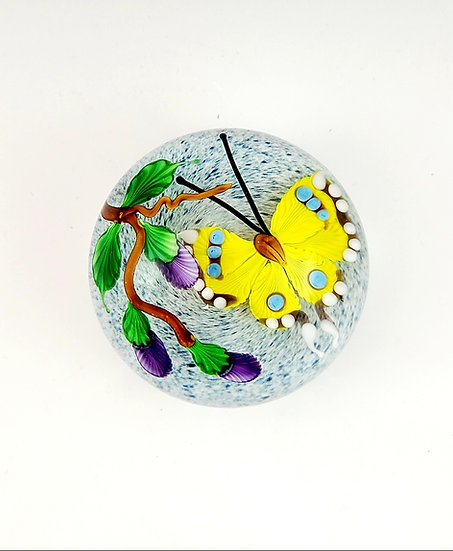 Paperweight - Yellow Butterfly with Violet Buds