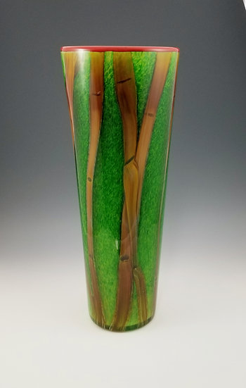 Green bamboo vase, large