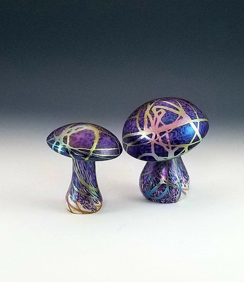 Regular Mushrooms - Iridescent Violet with Metallic Veins - each