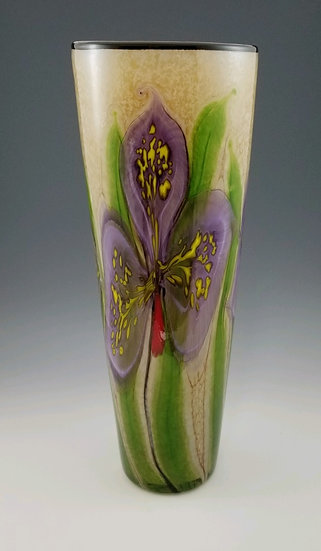 Violet orchid cylinder vase, large