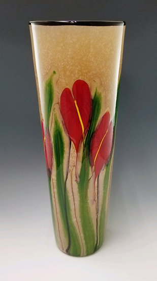 Red Anthurium cylinder vase, large