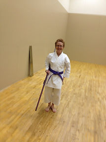 Carolyn doing some well-deserved training in the new dojo.