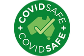 COVID SAFE logo png. Zero contact.