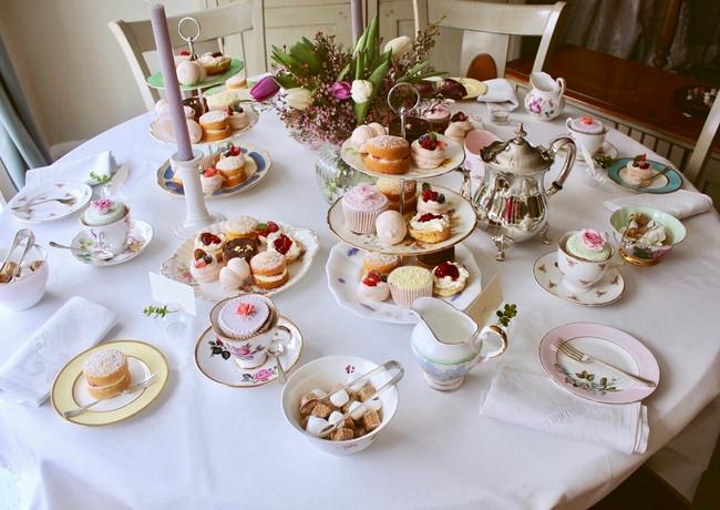 high tea table setting