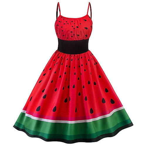 Watermelon Retro Swing Dress