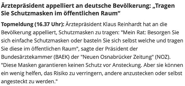 Klaus Reinhardt Mundschutz Ärztepräsiden