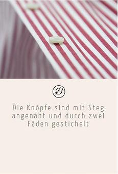 Befeni Muenchen München Munich | Die Maßhemd Knöpfe sind mit Steg angenäht und durch zwei Fäde gestichelt