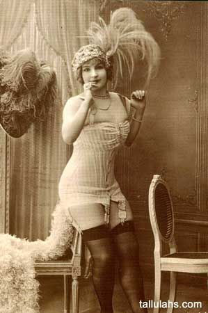 Vintage photo of a woman posing in lingerie