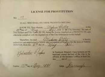 Vintage 19th century prostiution license