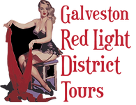 """Woman in lingerie with the text """"Galveston Red Light District Tours"""""""