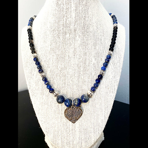 Heart, Lapis Lazuli & Black Obsidian