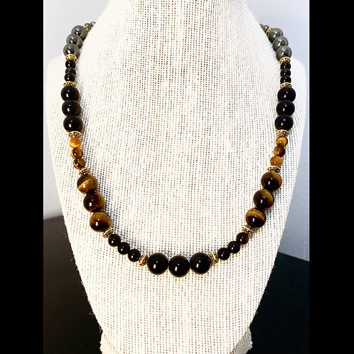 Black Obsidian, Tigers Eye & Hematite 1