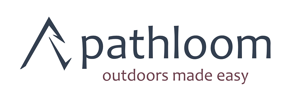 "Pathloom horizontal logo with ""Outdoors Made Easy"" tagline - transparent background"