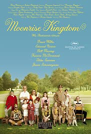 Moonrise Kingdom movie poster - awkward comedy drama set in beautiful New England scenery