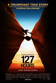 127 Hours movie poster: nail-biting bio drama following a hiker's harrowing journey to survival after getting stranded in Utah
