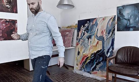 Arbeit im Atelier - Künstler Wolfsburg