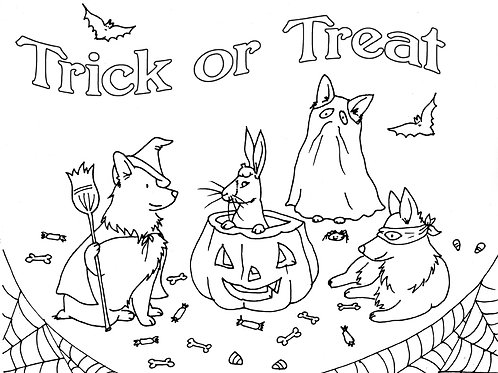 Coloring Sheet: Trick or Treat
