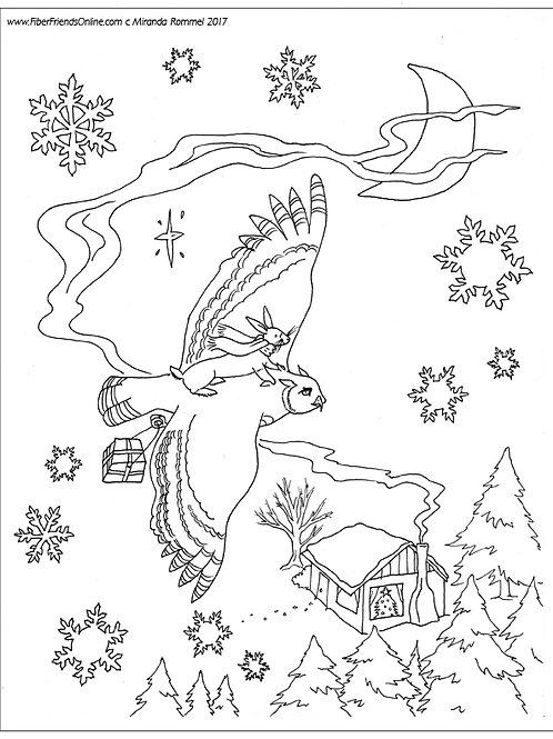 Coloring Sheet: Snowy Night