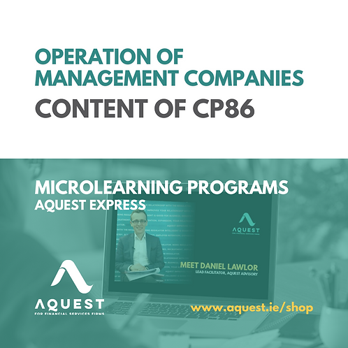 Operation of management companies - Content of CP86