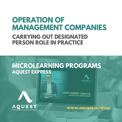 Operation of management companies - Carrying out Designated Person role