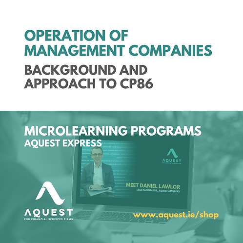 Operation of management companies - Background and approach to CP86