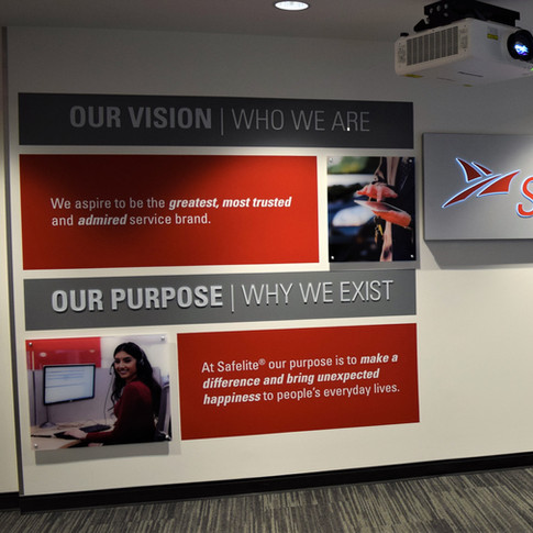 Company Purpose Display with LED Dimensional Logo