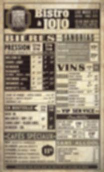 Carte des Boissons | Drink Card