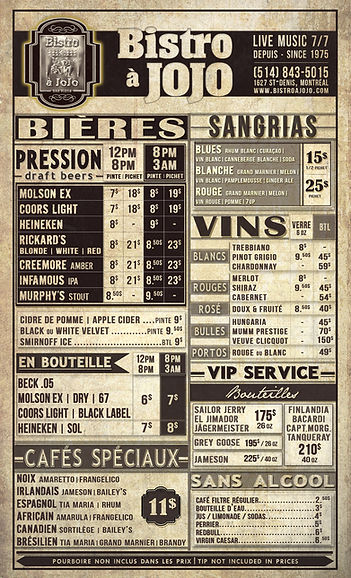 Carte des Boissons | Drink Card