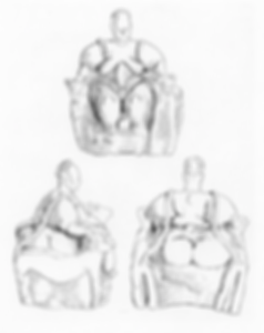 The first line drawings of the 'mother goddess' figure