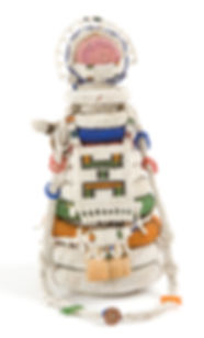 Ndebele umdwana (240mm) Glass beads, thread, textile, button, plant fiber. Collection: JAG