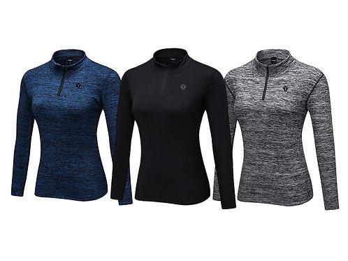 THEUS Sleek Fit Women's Long Sleeve Sports 1/4 Zip Pullover Shirt