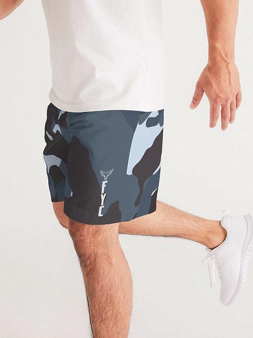 Men's Split Camo Lightweight Windbreaker Sport Jogger Shorts