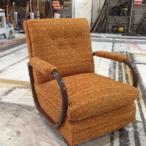reupholstered easy chair