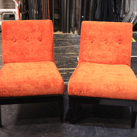 reupholstered and restained slipper Chairs