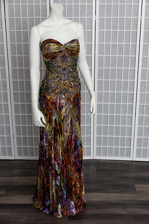 Multicolor Beaded Evening Gown