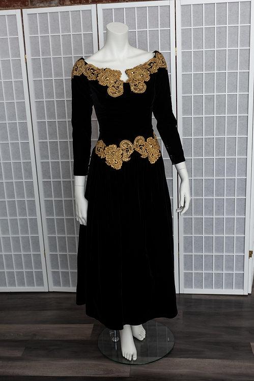 Velvet & Gold Lace Prom Dress